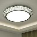 Loop Crystal Rectangle Flush Light Modern LED Living Room Flushmount in Chrome, 23.5