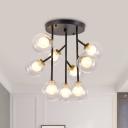 Clear Glass Orb Semi Flush Ceiling Light Modernist 9/12 Lights Flush Lamp Fixture in Black/Gold for Living Room