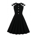 Girls Black Sleeveless Round Neck Contrasted Panel Button up Midi Pleated Flared Evening Dress
