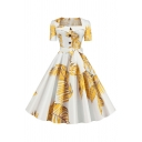 Glamorous Ladies All over Leaf Printed Short Sleeve Square Neck Button up Bow Tie Waist Midi Pleated Flared Dress