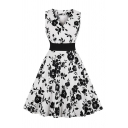 Fancy Ladies All over Floral Printed Sleeveless Surplice Neck Midi Pleated Swing Dress in White