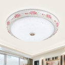 White Glass Bowl Shade Ceiling Flush Romantic Pastoral 12