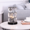 1 Light Nightstand Lamp Retro Cylindrical Beveled Inlaid Crystal Table Lighting in Black
