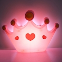 Plastic Crown Shape Sconce Lighting Cartoon LED Pink Finish Wall Mounted Lamp Fixture