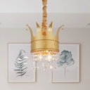 Metal Crown-Like Pendant Chandelier Kids 2/4/5 Bulbs Gold Finish Hanging Light Kit with Crystal Accent