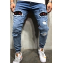 Cool Boys Mid Rise Letter VSU Print Distressed Bleach Rolled Edge Slim Fitted Jeans in Light Blue