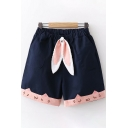 Kawaii Girls Elastic Waist Rabbit Ears Panel Cat Embroidered Contrasted Relaxed Fit Shorts in Navy