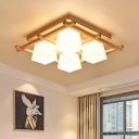 Trapezoid Bedroom Flush Light Fixture Milk White Glass 4/6-Bulb Japanese Ceiling Mounted Lamp with Wood Grid Frame