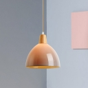Grey Dome Shaped Pendant Lighting Modernist Single Head Acrylic Ceiling Suspension Lamp for Bedroom