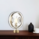 Blue/Clear Glass Round Night Table Light Modernism 1 Bulb Gold Finish Night Lamp for Bedside