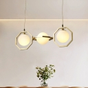 Modernist Orb Island Pendant Light White Frosted Glass 3-Light Dining Room Ceiling Lamp with Gold Octagon Frame