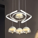 Contemporary Dome Multi Light Pendant Acrylic 4 Heads Dining Room Suspension Lighting with Twisting Design in White