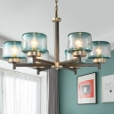 Blue Seeded Glass Drum Pendant Lighting Post Modern 3/6-Light Radial Hanging Chandelier over Table