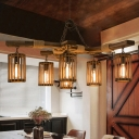Wood Brown Hanging Lamp Kit Cylinder 3/6-Light Industrial Chandelier Pendant Light with Branch Beam