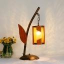 Brass 1 Light Desk Lighting Industrial Amber Crackle Glass 1-Light Table Light with Wood Leaf Deco