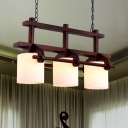 Brown 2/3-Light Island Lighting Fixture Classic Style Opal Glass Cylinder Wooden Hanging Light Kit