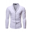 Cool Fashion Guys Long Sleeve V-Neck Button Up Contrast Piped Slim Fitted Shirt Top
