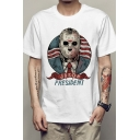 Guys Trendy Street Short Sleeve Crew Neck Letter PRESIDENT Cartoon Stripe Print Loose Graphic Tee Top in White