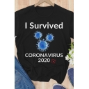 Popular Womens Short Sleeve Crew Neck Letter I SURVIVED CORONAVIRUS Virus Graphic Relaxed T Shirt