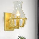Gold Finish Vase Wall Mount Light Designer 1 Bulb Clear Glass Wall Lamp Sconce with Basket Base