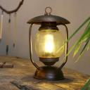 1 Light Tan Glass Desk Lamp Factory Style Brass/Copper Lantern Shade Bedroom Table Lighting