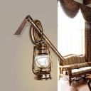 Farmhouse Kerosene Wall Sconce 1-Light Clear Glass Wall Mounted Lamp with Metal Prod Deco
