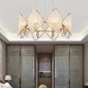 Contemporary Rhombus Pendant Light Crystal 8 Lights Bedroom Ring Chandelier Lamp Fixture in Gold