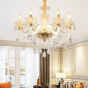 6-Head Beveled Crystal Chandelier Lighting Traditional Gold Curvy Arm Living Room Pendant Lamp Fixture