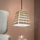 Trapezoid Restaurant Pendant Lighting Vintage Resin 1 Bulb Brown Ceiling Lamp with Conch Deco