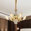 Crystal Gold Chandelier Shell Shaped 6-Bulb Modernist Suspension Pendant Lamp for Restaurant