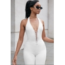 Formal Hot Womens Plain Sleeveless Halter Lace Up Front Long Slim Fit Jumpsuit