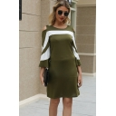 Trendy Womens Green Three-Quarter Sleeve Cold Shoulder Stripe Printed Colorblock Mid Shift Dress