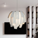 Layered Strap Fabric Pendulum Light Modern Style 1 Head Living Room Ceiling Pendant in White