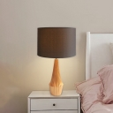 Ridged Urn Base Bedside Table Lamp Rustic Resin 1-Light Black/White Night Lighting with Fabric Straight Sided Shade
