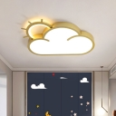 Acrylic Cloud Flush Mount Spotlight Creative LED Ceiling Lamp in Gold for Bedroom