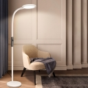 Modernist Round Floor Reading Light Metal Study Room LED Floor Stand Lamp in White