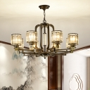 6/8 Heads Hanging Chandelier Modernism Living Room Suspension Light with Cylinder Crystal Block Shade in Black