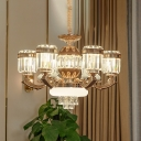 Contemporary Cylindrical Pendant Lighting 6/8 Lights Crystal Rectangle Ceiling Chandelier in Gold