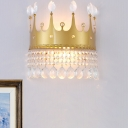 2 Lights Wall Mount Lighting Modernism Crown Shaped Metal Wall Sconce Lamp in Gold with Crystal Drop