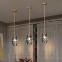 1 Light Hanging Light Kit Minimalism Double Panel Beveled Crystal Suspension Lamp in Brass