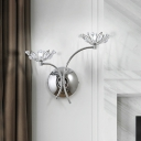 Chrome Finish 2-Head Wall Lighting Contemporary Iron Blossom Sconce Light Fixture with Crystal Orbs Decor