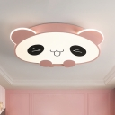 LED Bedroom Flush Mount Ceiling Lamp Cartoon Pink/Black Flushmount Lighting with Panda Acrylic Shade in Warm/White Light