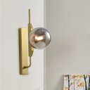 Gold Right Angle Arm Wall Sconce Designer Single Metal Wall Light Kit with Orb Amber/White/Smoke Glass Shade