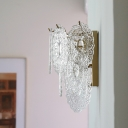 Layered Oval Clear Carved Glass Wall Lamp Mid Century 3 Bulbs Gold Sconce Light Fixture for Living Room