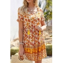 Pretty Bohemian Ladies Short Sleeve V-Neck Tied Front All Over Flower Printed Panel Mini Pleated A-Line Dress