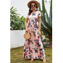 Fashionable Womens Short Sleeve Round Neck All Over Flower Printed Maxi Flowy Dress in Pink
