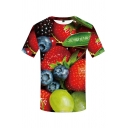 Guys Red Short Sleeve Crew Neck All Over Strawberry Grape Blueberry 3D Pattern Slim Fit Unique Tee