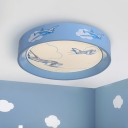 Acrylic Round Ceiling Flush Mount Cartoon LED Blue Flushmount Lighting with Aircraft Pattern