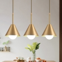 Brass Conical Hanging Lamp Kit Simplicity 1 Head Metal Pendant Ceiling Light for Kitchen