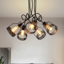 Metal Caged Semi Flush Mount Lighting Industrial 5 Bulbs Dining Room Close to Ceiling Lamp in Black